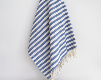SALE 50 OFF/ Turkish Beach Bath Towel Peshtemal / Blue Striped / Bath, Beach, Spa, Swim, Pool Towels