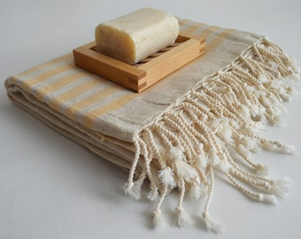 Shipping with FedEx - NEW Special Production Turkish BATH Towel Peshtemal - Linen - Yellow Striped