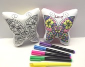 Coloring Butterfly Pillow, Girls Birthday Party Favor, Adult Coloring, Teen Girl Birthday, Girls Birthday, Tween & Teen Gift