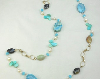 LONG CHAIN NECKLACE Chalcedony Hemamorphite Agate Beads Turquoise Silver tone chain