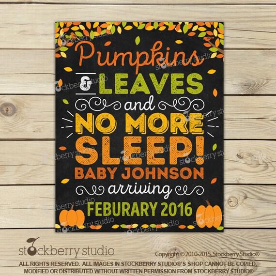 Fall Pregnancy Announcement Chalkboard Printable Fall Baby – Fall Birth Announcements
