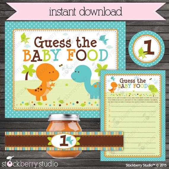 Dinosaur Baby Shower Baby Food Game Printable Boy Baby Shower