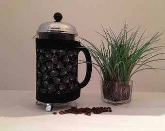 "French Press ""Bean Belt"" Coffee Cozy - ""Clocks"" Metallic Silver"
