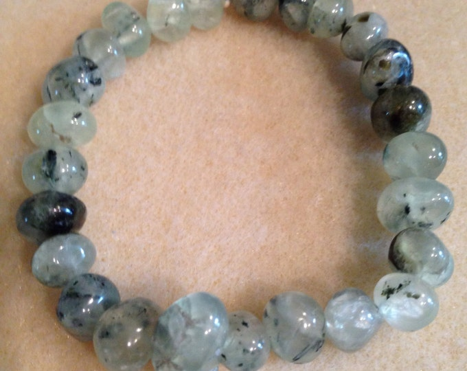 Prehnite & Epidote Nugget Stretch Bead Bracelet with Sterling Silver Accent