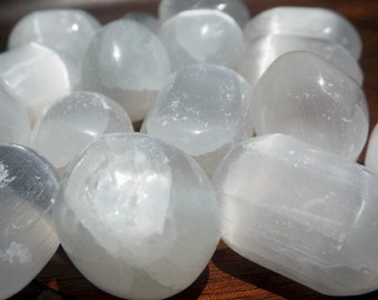 Hand Polished Selenite - Tumbled Selenite, Selenite crystal, moon magic, Wiccan, witchcraft supply, protection crystal, Goddess crystal