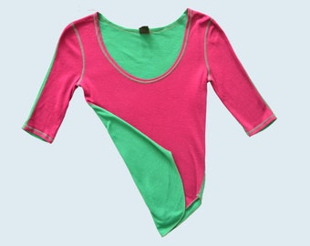 1970s Biba Tee Green and Fuscia size S