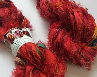 Premium quality sari silk ribbon, Unique eyelash edging, beautiful Indian reds. 200g, Pure iredescent silk sari ribbon.