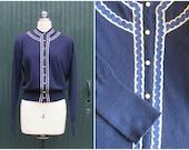 Vintage 1950's Cashmere Sweater   Bullocks Cardigan, Scotland   Size Med