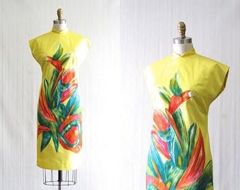 Vintage 1960's Deadstock Tropical Wiggle Dress   Zacuto Bamboo Fashion Shop   Tiki, Resort, Mad Men   Size: Medium