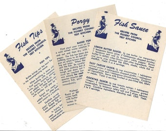 Vintage Fishery Council Test Kitchen Recipe Cards, C1947 (set of 3)
