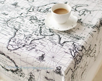Linen map etsy tablecloth cotton linen world map rectangle square round dinnerpartyweddingbirthday gift gumiabroncs Gallery