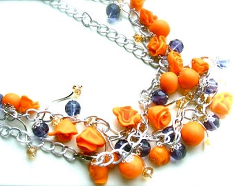 Sale 10% off Long necklace with orange flowers - Orange necklace - Handmade- OOAK
