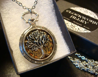Tree of Life over Etched Gear Pocket Watch Style Pendant Necklace (2136)