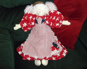 Soft Sculpture - Quilted Angel - Red, White and Blue Star