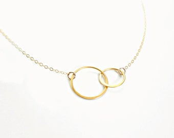 Interlocking Circles Necklace 14k Gold Fill -Two Connected Infinity Circles Necklace, Double Rings, Best Friend Necklace, Couples Necklace