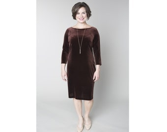 Velvet Shift Dress Customizable Length, Neckline, and Sleeve Length Sizes 2-28