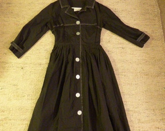 40s Black Cotton Dress With Big White Buttons . Great Shape