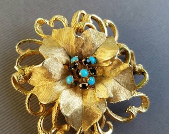 Vintage HAR Flower Brooch - Gold Tone with Black and Turquoise Rhinestones - FREE SHIPPING
