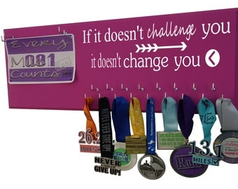 Running Medal Holder & Race Bib Holder RUNNING, inspirational running quote medal hanger, if it doesn't challenge you it doesn't change you