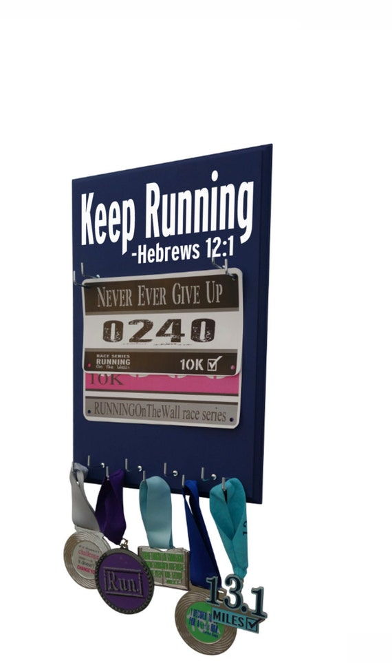 Use Running Bib Holders to proudly display your precious Bibs - Keep running -Hebrews 12:1