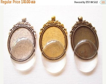 50% OFF Moving Sale - Bulk 6sets Oval Cameo Setting and Clear Glass Cabochons Antiqued Silver Tone/Bronze/Gold 40x30mm B1257(Mix)