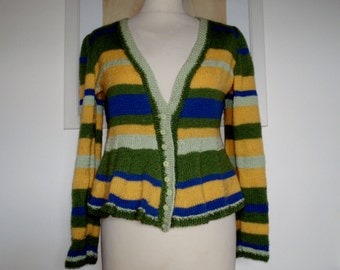 Hooped peplum style cardigan, button through UK 14 US 10 12 yellow green blue.
