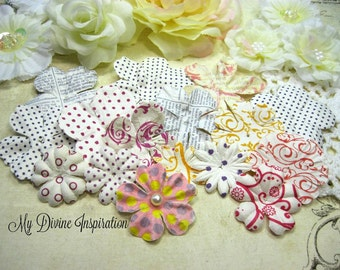 16 Script, Printed Mulberry Paper Flowers, Mulberry Petals for Scrapbook Layouts, Tags, Cards, Mini Albums and Paper Crafts