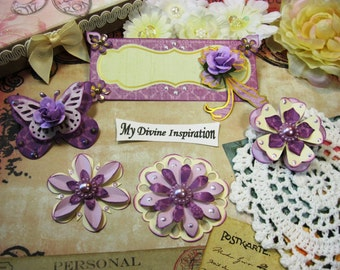 Ivory Purple and Gold Paper Embellishments and Paper Flowers for Scrapbook Layouts Cards Mini Albums Tags and Paper Crafts