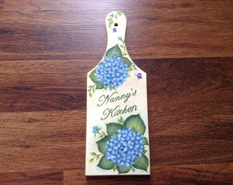 Nanny's Kitchen Plaque - Blue Hydrangeas, Purple Butterflies