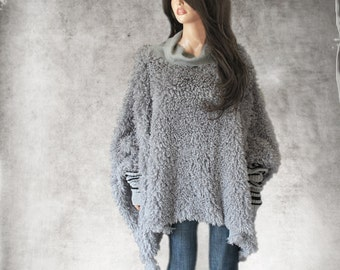 Cape faux fur/poncho gray women/cowl neck top/cover up soft long hair