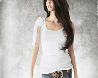 Tulle ruffle top /White tank tie shoulder/Sleevless tee