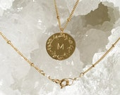 Hand stamped initial and magnolia branch necklace, wreath, flower, letter, gold filled, satellite chain, beaded chain