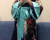 Sale Silk Satin Kimono Boxing Robe in floral for Kids Birthday Sleepwear Baby Halloween child robe shorts hood personalized robe sash cheap