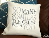 "So Many Smiles throw pillow cover - pick your color - add on pillow insert - 14""x14"" cover - 16""x16"" feather/down insert"