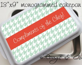 """HOUNDSTOOTH personalized cake pan - 13""""x9"""" stainless steel with white lid, monogrammed cake pan, casserole dish, wedding gift, house warming"""
