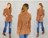 SUMMER SALE 70's Brown SUEDE Wrap Coat