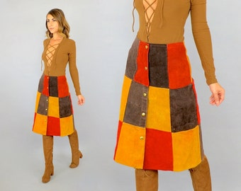 70's Suede PATCHWORK Skirt