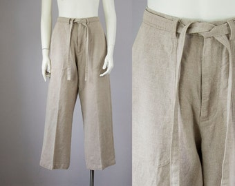 "90s Vintage Tan Washed Linen High-Rise Casual Pants (M; 28"" Waist)"