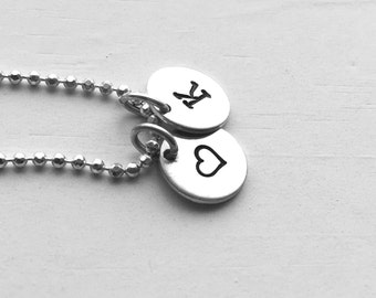 Initial Necklace with Heart Charm, Heart Necklace, Sterling Silver, Personalized Jewelry, All Letters Available, Letter K Necklace