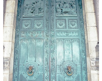Paris Door Photo - Montmartre Patina - Fine art travel photography - French door art - Vintage beauty - Tiffany blue green