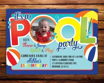 Pool Party Invitation, Printable Birthday Invite, DIY Invitation, Swim party, Photo Birthday Invitation, 1st Birthday, Any Color