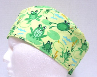 Mens or Unisex Scrub Hat, Surgical Cap or Chemo Cap Happy Frogs