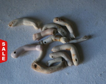 Closeout Sale - Vintage Porcelain Bisque Doll Arms Damaged for Doll Making and Doll Repair