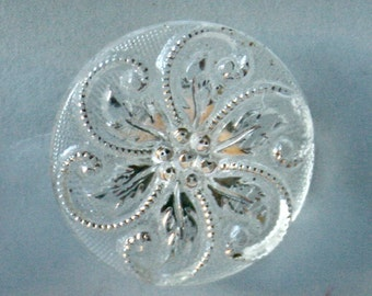 8 Antique Clear or Milky Glass Buttons with White Accents for Sewing and Crafts