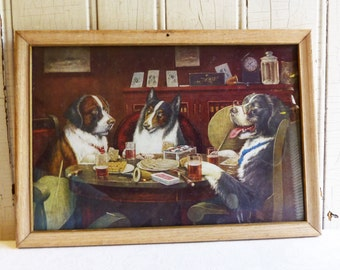 Vintage Dogs Playing Poker Framed Print - Post Mortem - C.M  Coolidge - Anthropomorphic - Mid-Century 1950s - Man Cave Wall Hanging