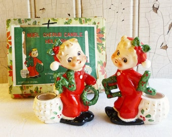Vintage NOEL Cherub Candle Holder Set with Original Box - Pixie Girls in Red Dresses - Commodore, Made in Japan 1950s