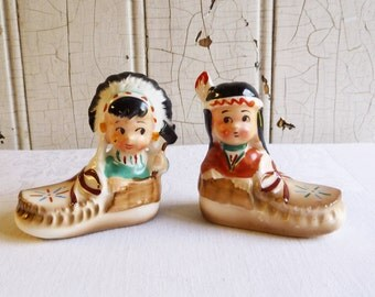 Vintage Indian Boy and Girl Salt & Pepper Shakers - Native American Moccasins - Souvenir St. Ignace Michigan - Mid-Century 1960s