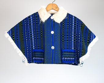 Vintage 60's 70's Knit Blue Wool Button Up Cropped Poncho with Fringe and Mohair Collar Retro/Ethnic/Hipster/Hippie/Boho Women's Small