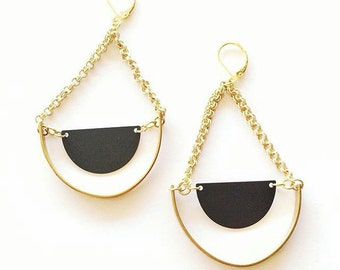 MADE TO ORDER : Black & Brass Double Cresents