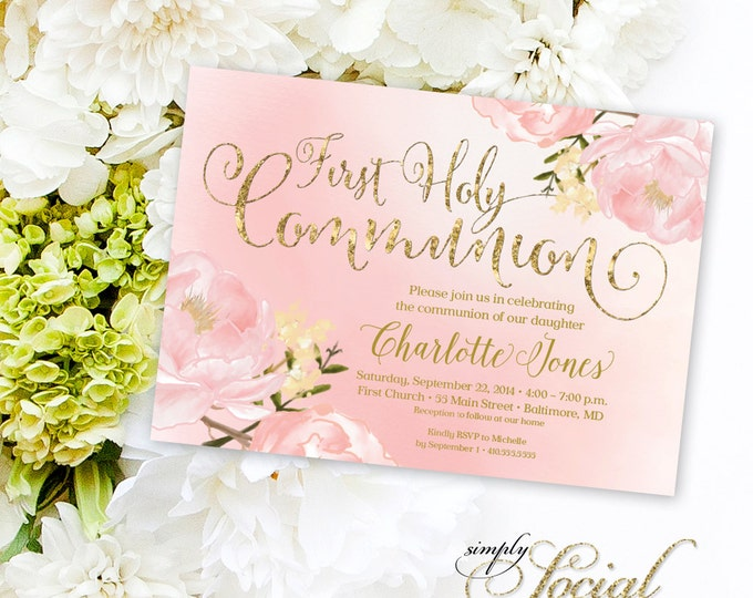 Floral Holy Communion Invitation - Floral Communion Invite Baptism Invitation Peony Invitation Printable Invitation Religious Faux Gold Foil